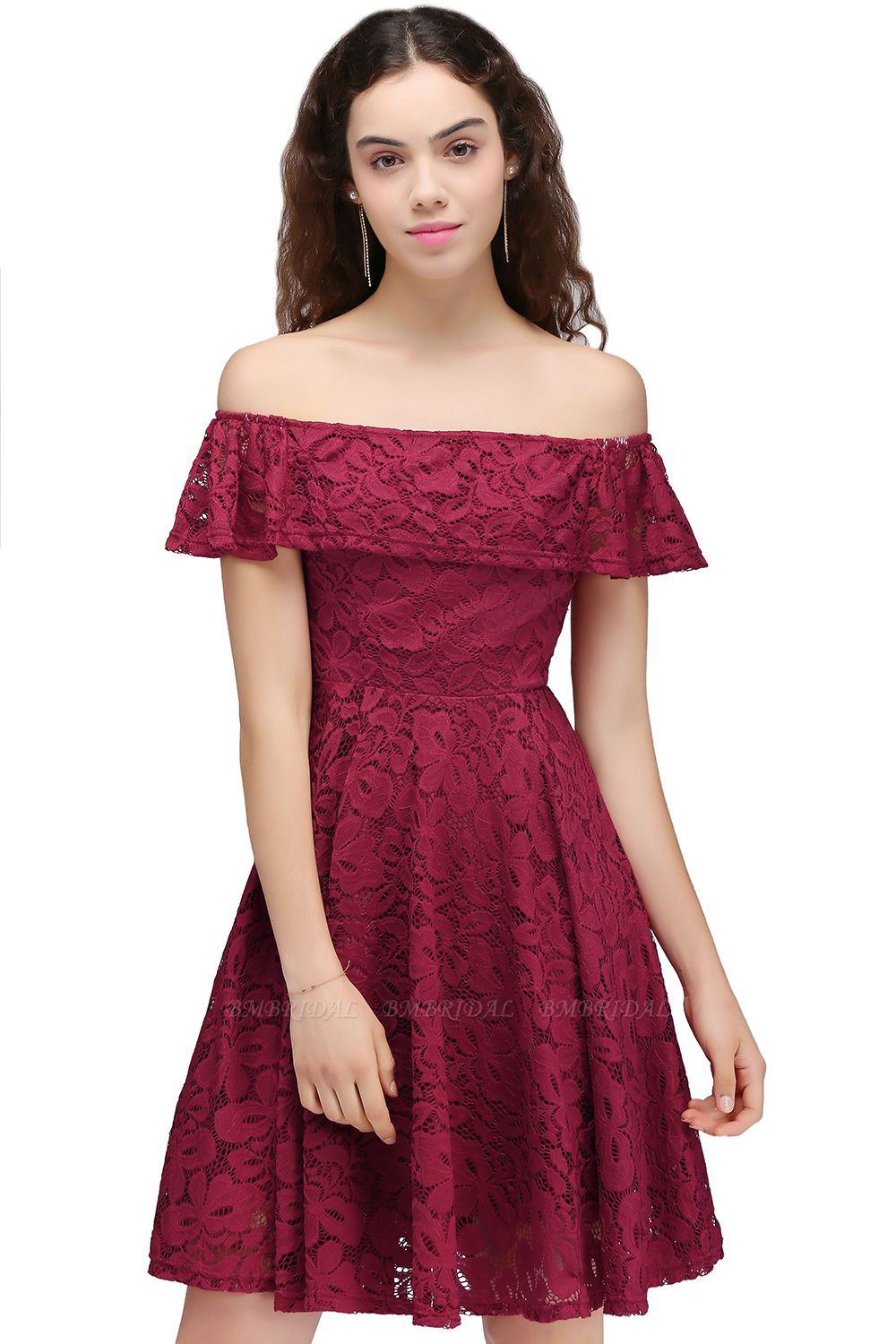 BMbridal A-Line Off-the-shoulder Lace Burgundy Homecoming Dress