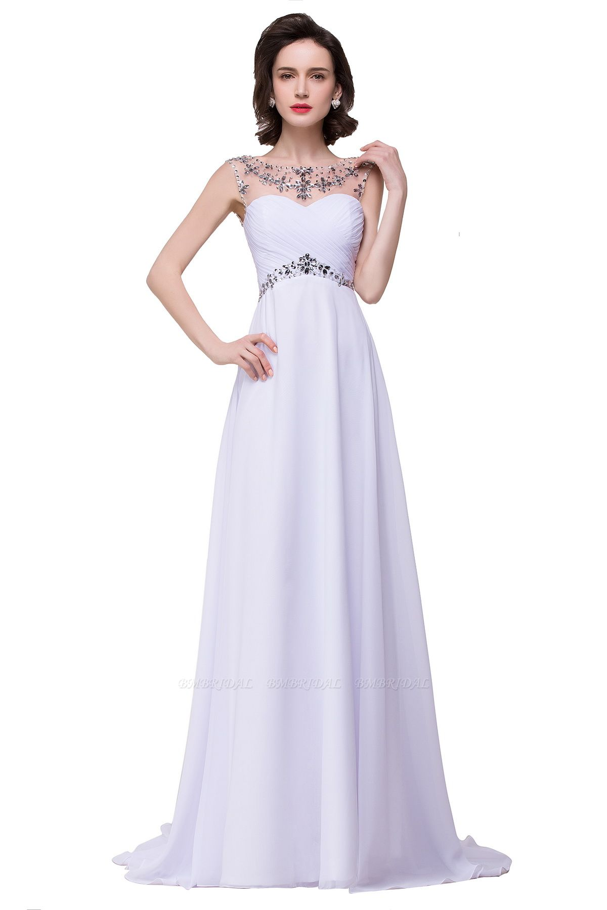BMbridal A-line Sweetheart Chiffon Evening Dress With Crystal