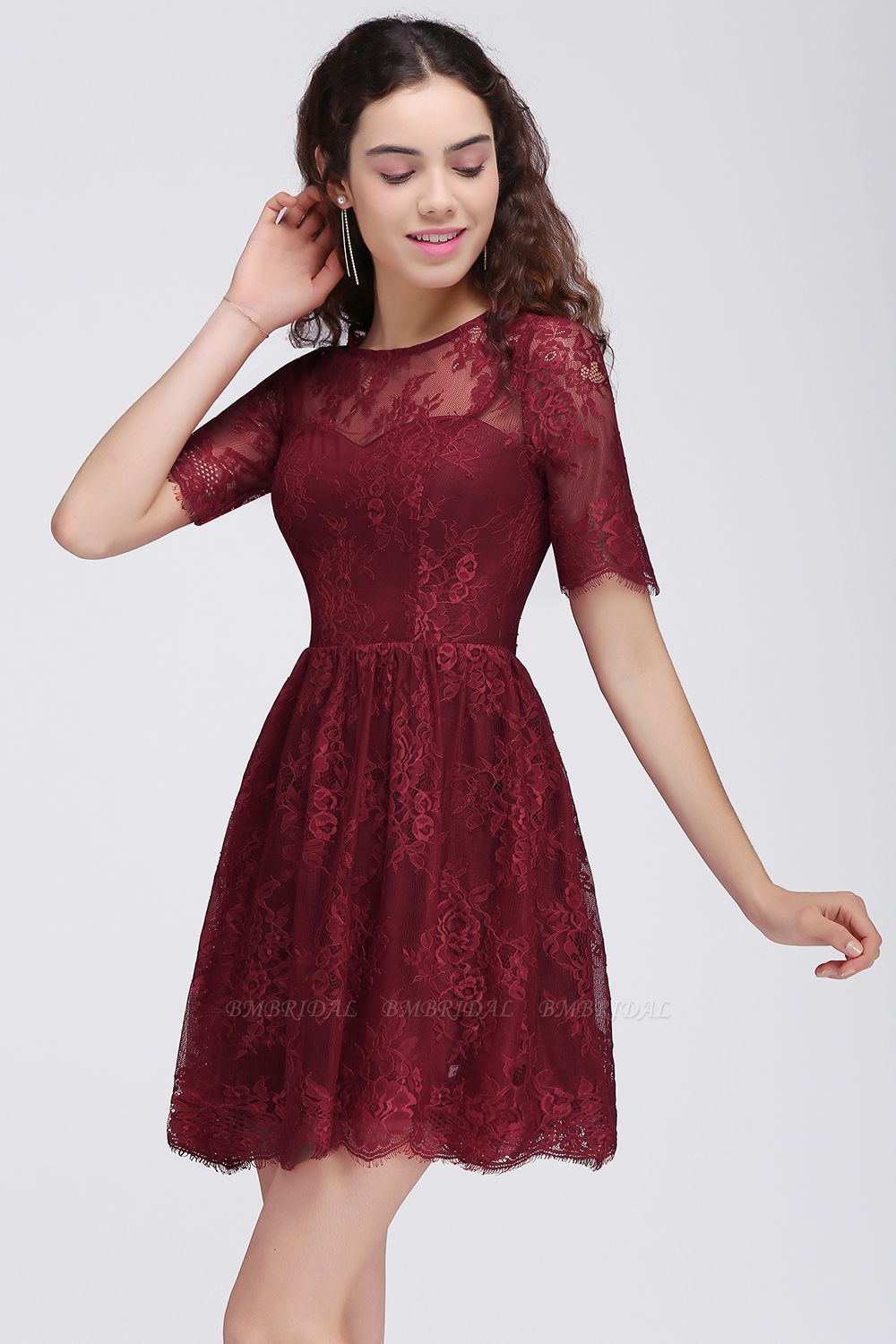 BMbridal A-Line Round Neck Short Lace Burgundy Homecoming Dress