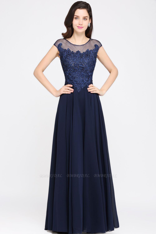 BMbridal Cap Sleeve Lace Appliques Long Chiffon Evening Dress