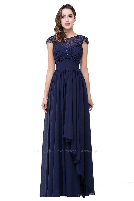 BMbridal A-line Ruffles Ribbon Bow Capped Lace Chiffon Bridesmaid Dress