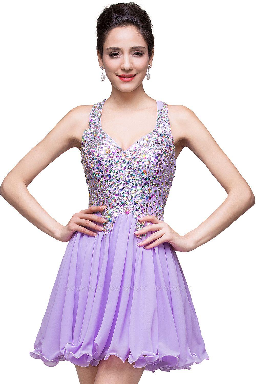 BMbridal Chic Crisscross-straps Crystal Beads Ruffle Chiffon Sweetheart Short Prom Dress
