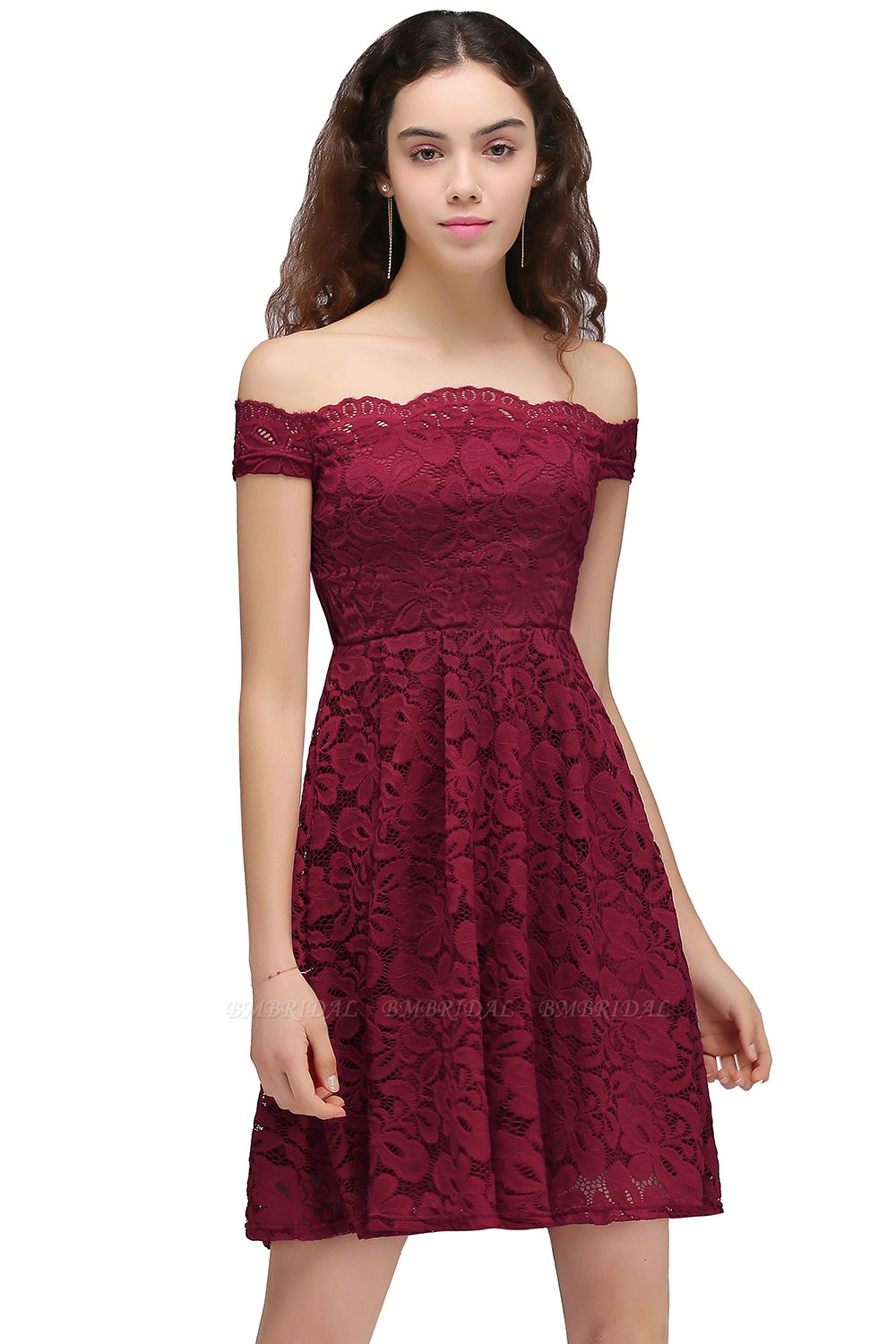 BMbridal A-Line Off-the-shoulder Short Burgundy Lace Homecoming Dress