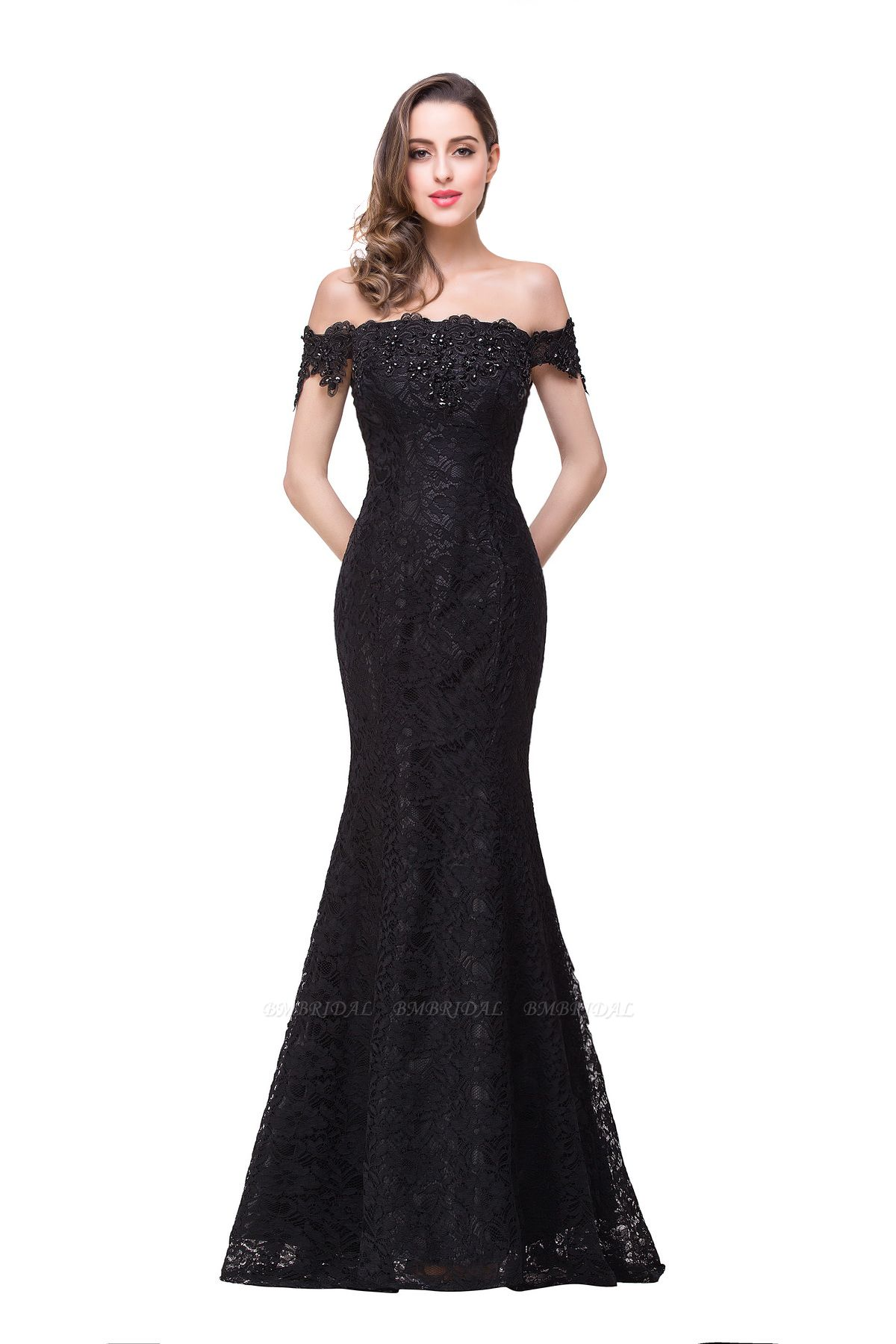 BMbridal Off-the-Shoulder Lace Mermaid Prom Dress Long Evening Party Gowns Online