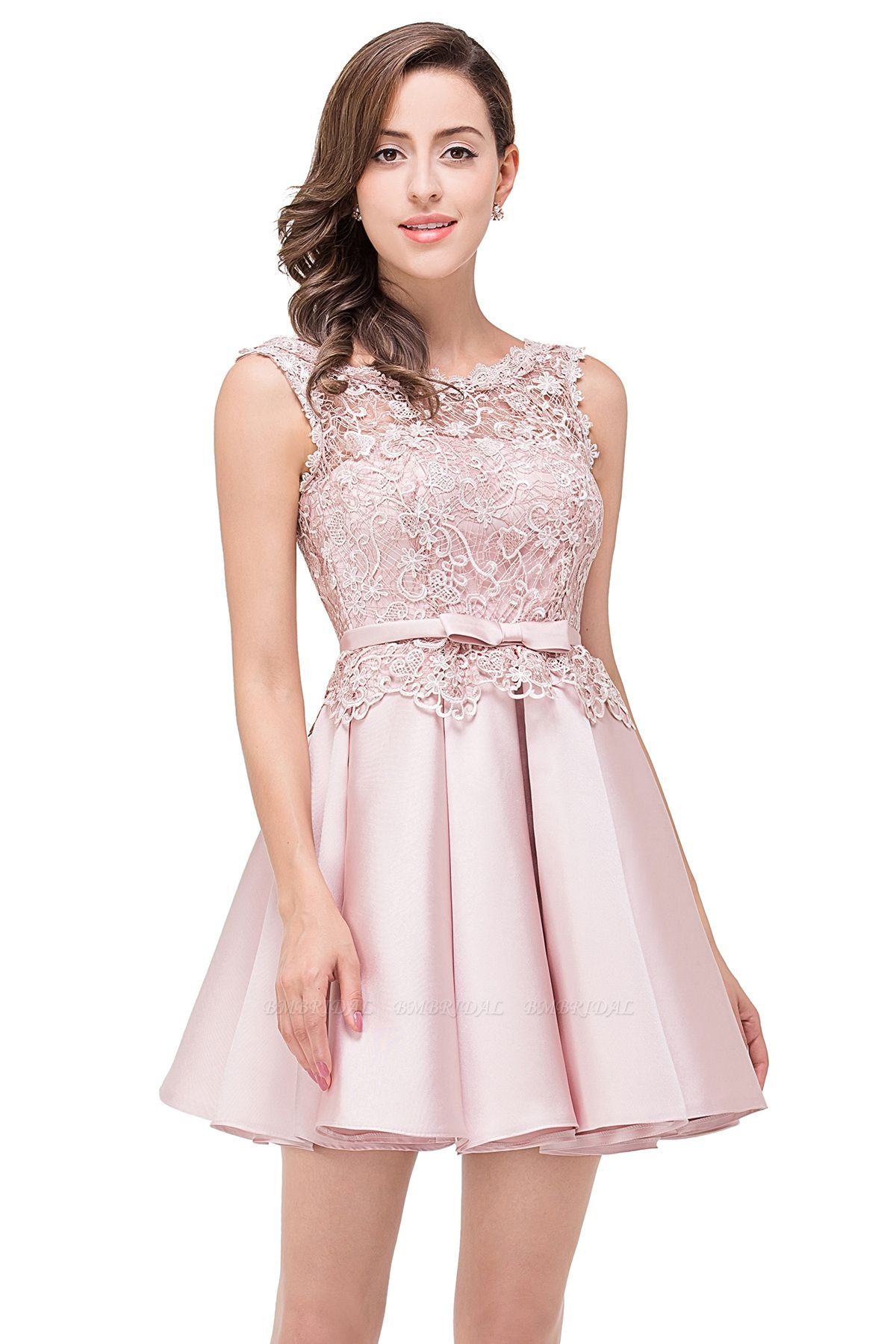 BMbridal A-line Knee-length Satin Homecoming Dress with Lace