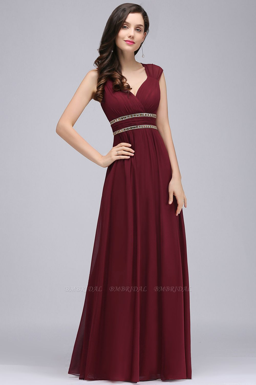 BMbridal Vintage Burgundy Cap Sleeve Chiffon Long Evening Dress