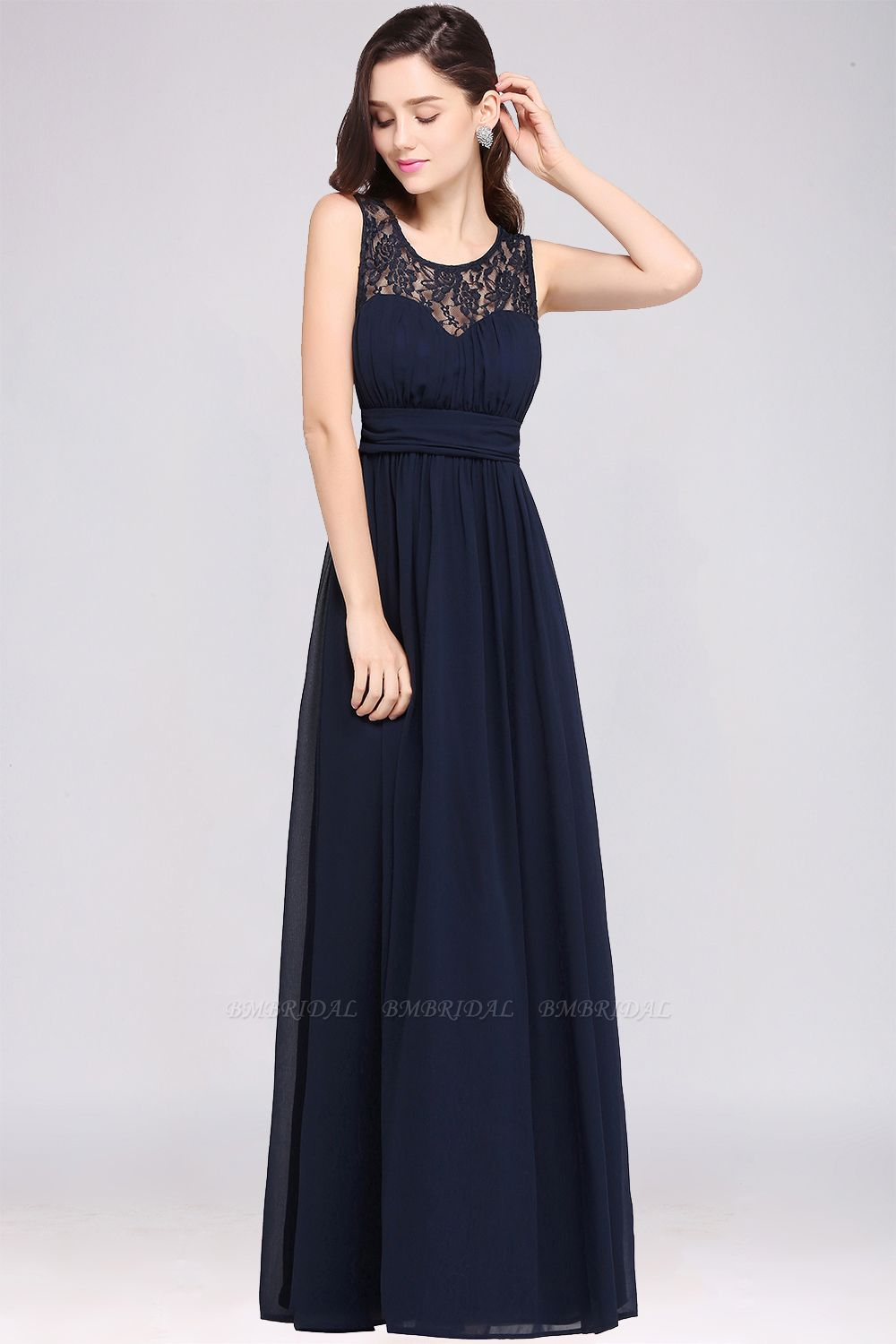 Elegant Lace Chiffon Affordable Long Navy Bridesmaid Dresses In Stock