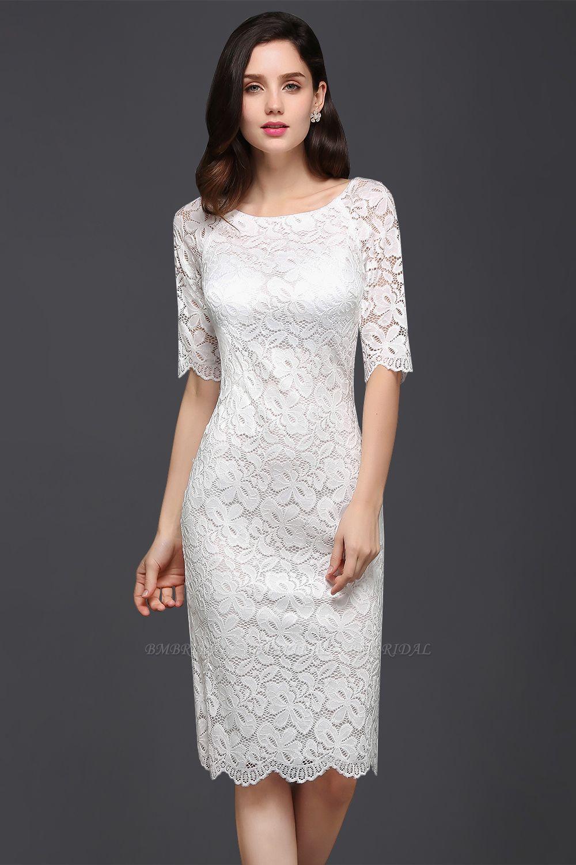 BMbridal Lace Jewel Short Ivory Fashion Knee-length Sleeve Evening Dress