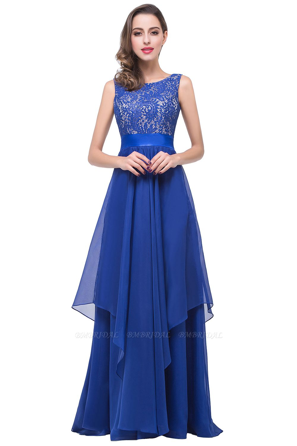 Exquisite A-line Chiffon Royal Blue Bridesmaid Dress with Lace In Stock