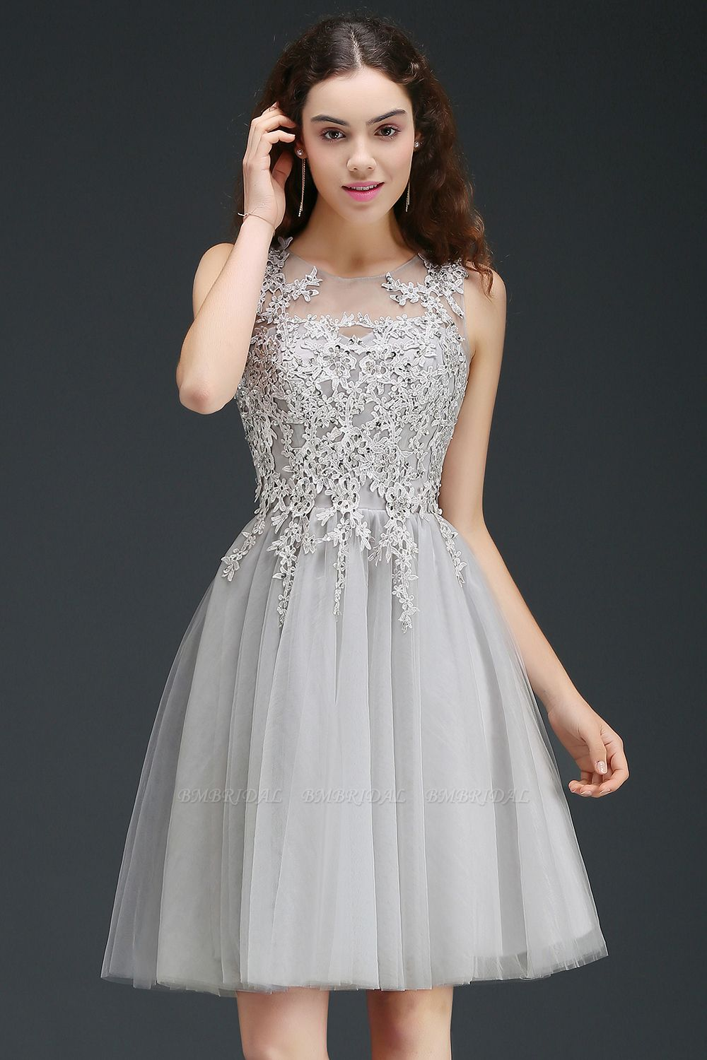 BMbridal Newest Lace Appliques Silver Jewel Sleeveless Short Homecoming Dress