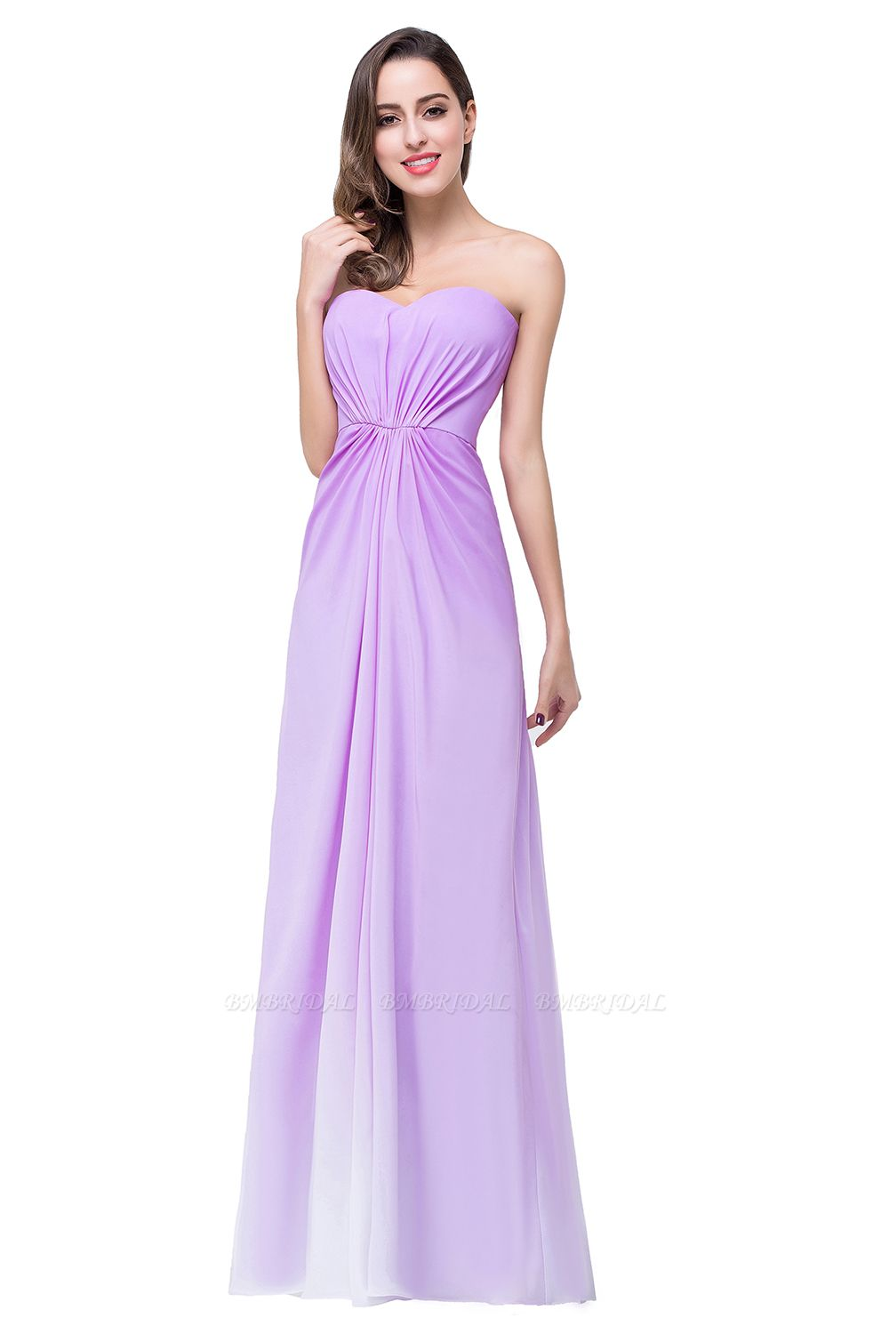 Gorgeous A-line Strapless Lilac Chiffon Bridesmaid Dress Cheap In Stock