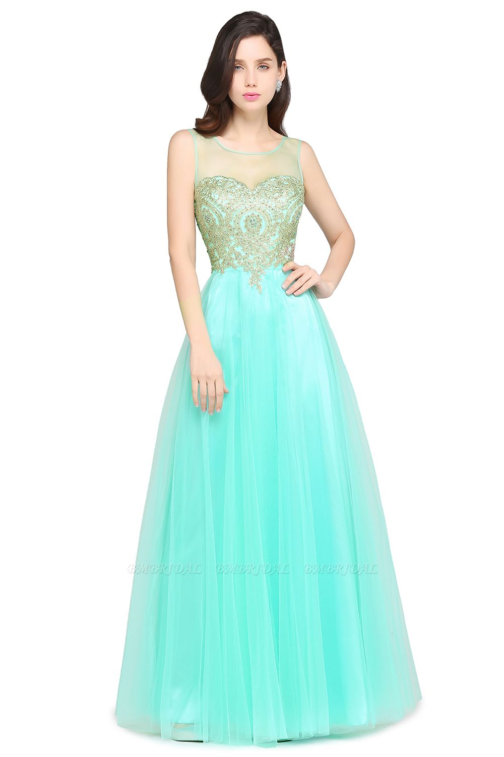 BMbridal Gorgeous Illussion Scoop Long Prom Dress With Lace Appliques