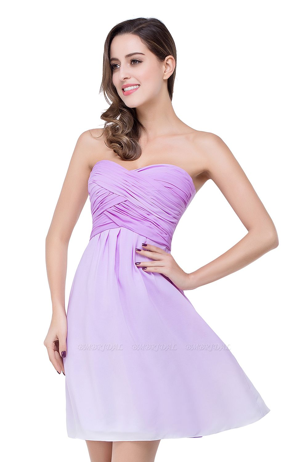 BMbridal A-line Strapless Chiffon Bridesmaid Dress with Draped