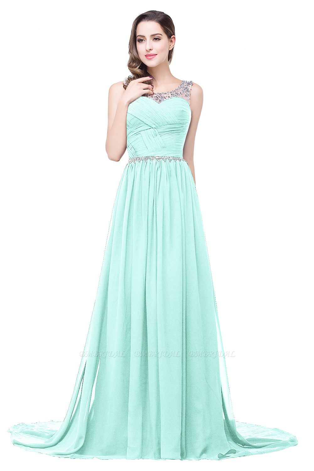 BMbridal A-line Court Train Chiffon Party Dress With Beading