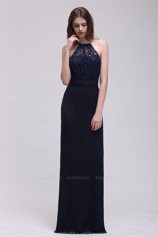 BMbridal Pretty Floor length Navy blue Halter Lace Prom Dress
