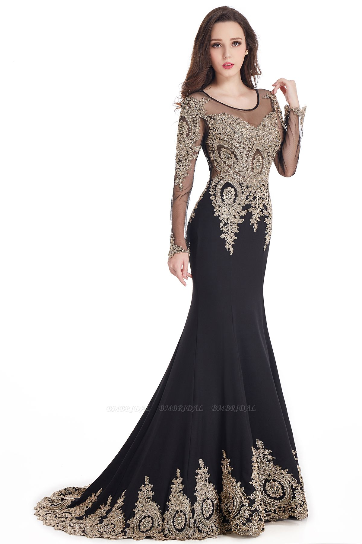 Gorgeous Long Sleeve Mermaid Evening Party Gowns With Lace Appliques