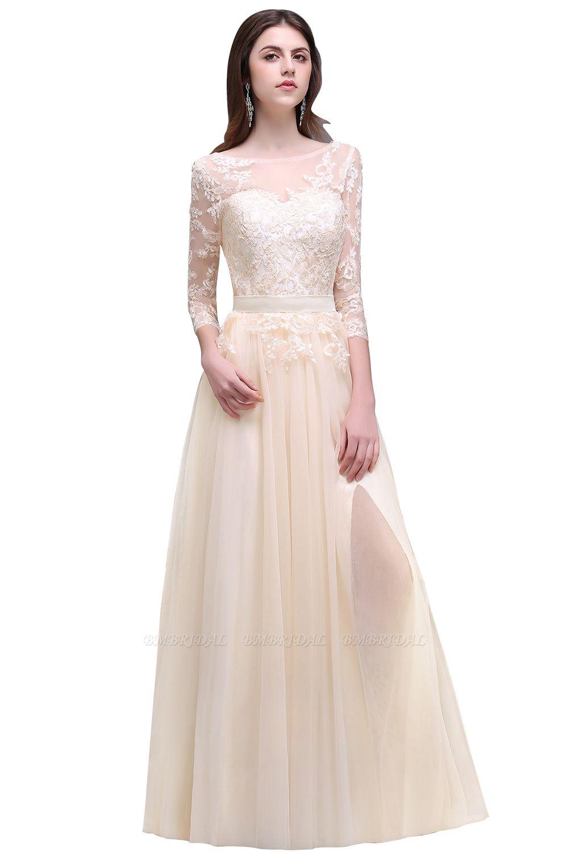 BMbridal Lace Appliques Split Long Tulle Prom Dress