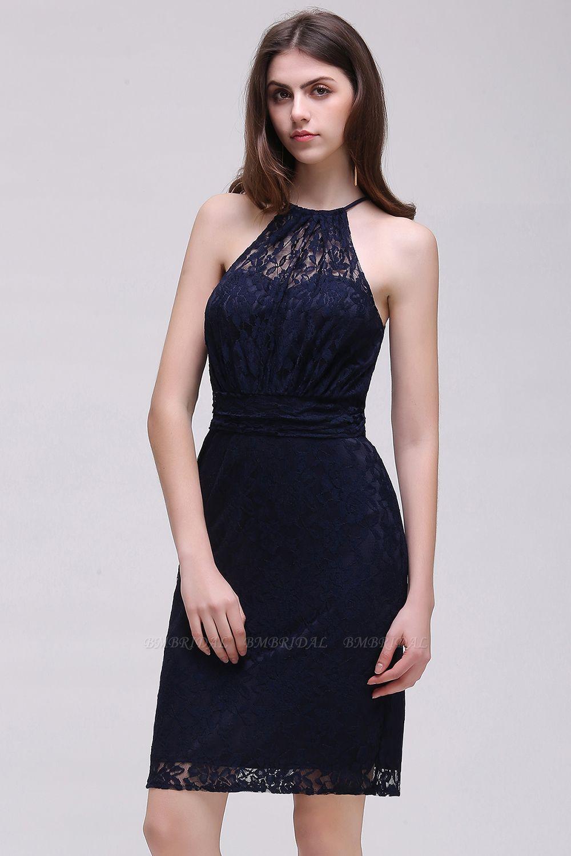 BMbridal Elegant Halter Lace Sheath Short Prom Dress