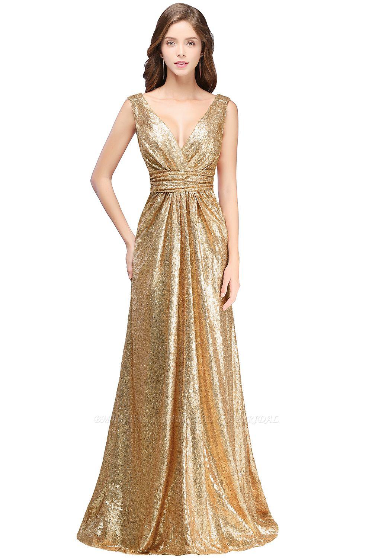 BMbridal Elegant A-line Open Back Sequins Sleeveless V-neck Evening Dress