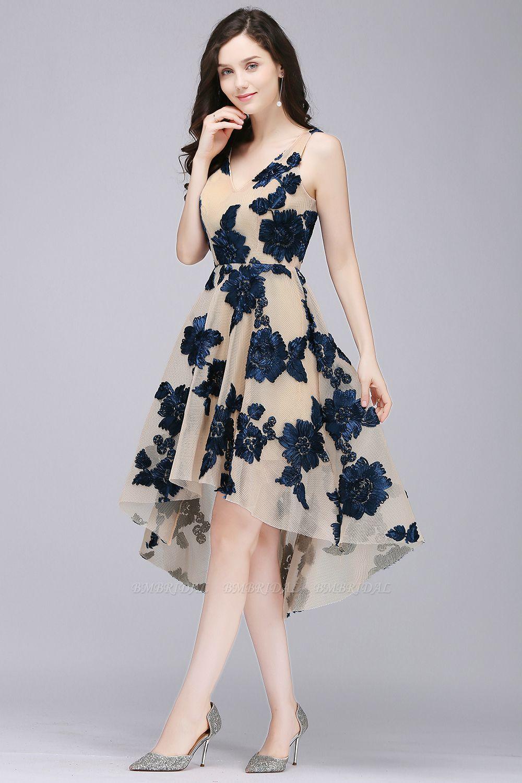 BMbridal Short Appliques Tulle V Neck Prom Dress