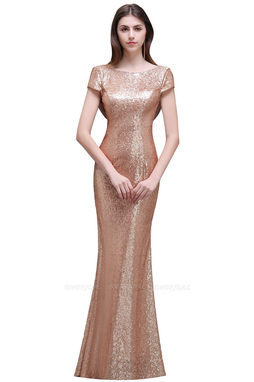BMbridal Women Sparkly Rose Gold Long Sequins Bridesmaid Dress
