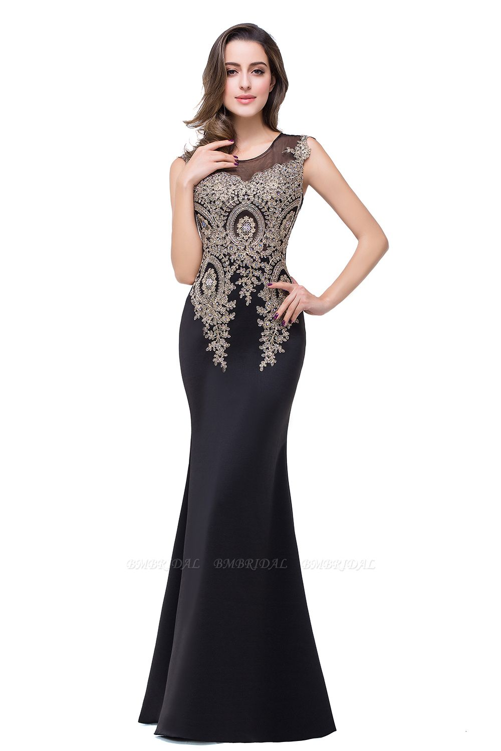 BMbridal Black Mermaid Long Prom Dress With Lace Appliques