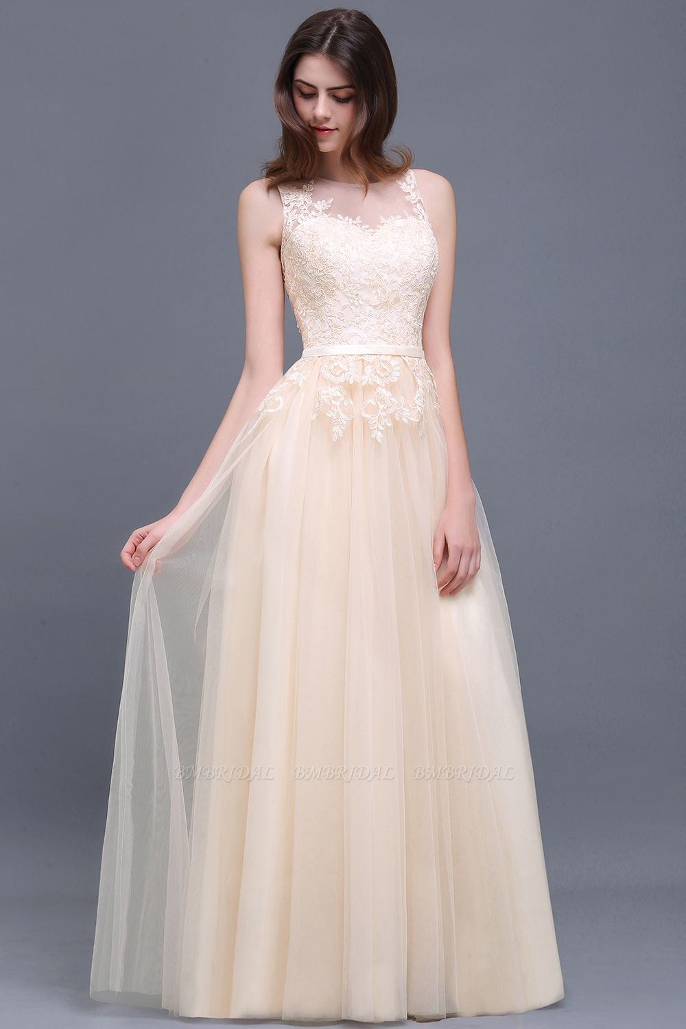 BMbridal Lace Sleeveless Long Tulle Prom Dress