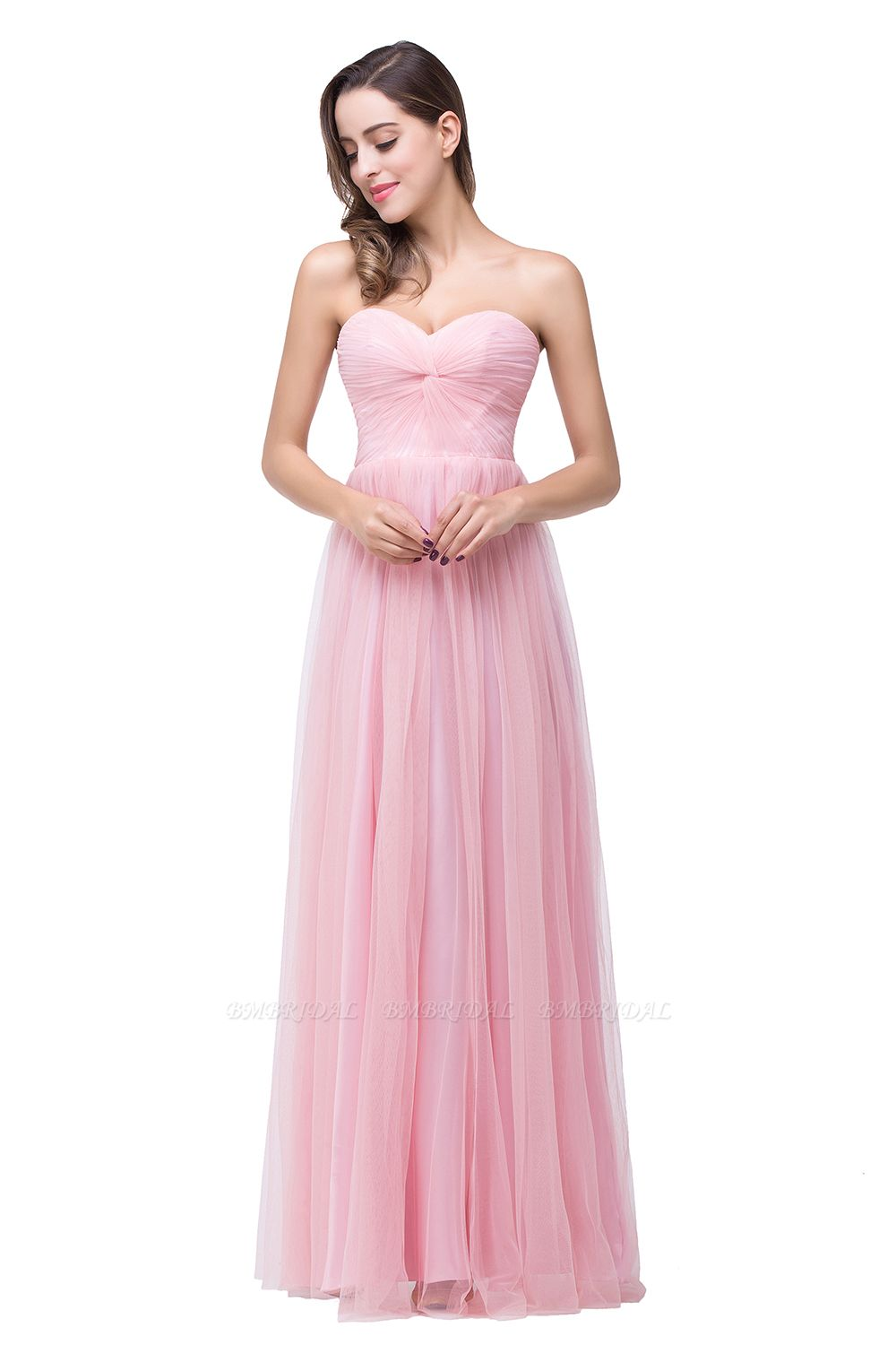 Affordbale A-line Tulle Sweetheart Ruffle Pink Bridesmaid Dress Online In Stock