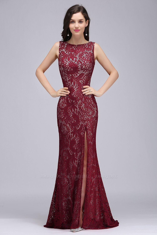 BMbridal Crew Front-split Backless Prom Dress Sweep-train Sleeveless Burgundy Lace Mermaid Evening Dress