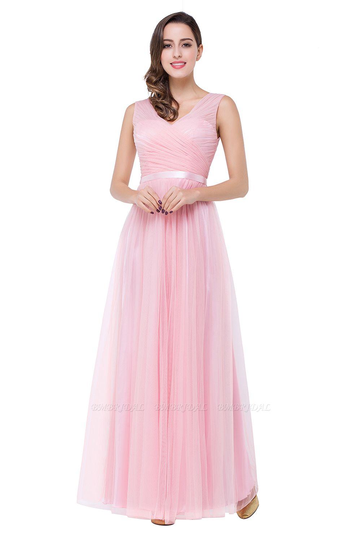 BMbridal A-line Ruffled Tulle Sleeveless Ribbon Sash V-neck Bridesmaid Dress