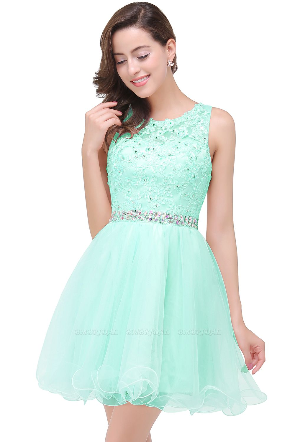 BMbridal A-line Knee-length Tulle Prom Dress with Appliques