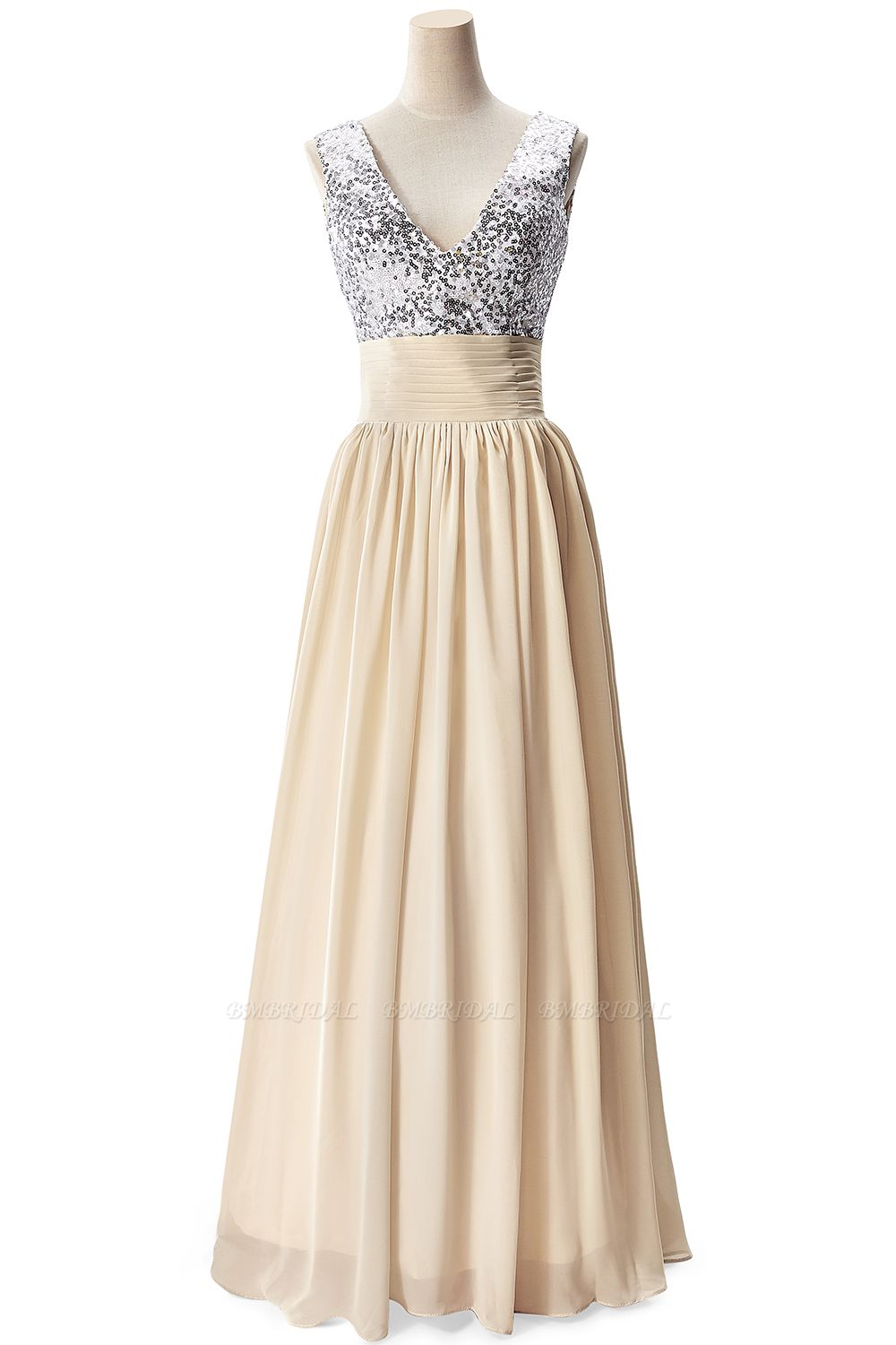 BMbridal A-line V-neck Chiffon Party Dress With Sequined
