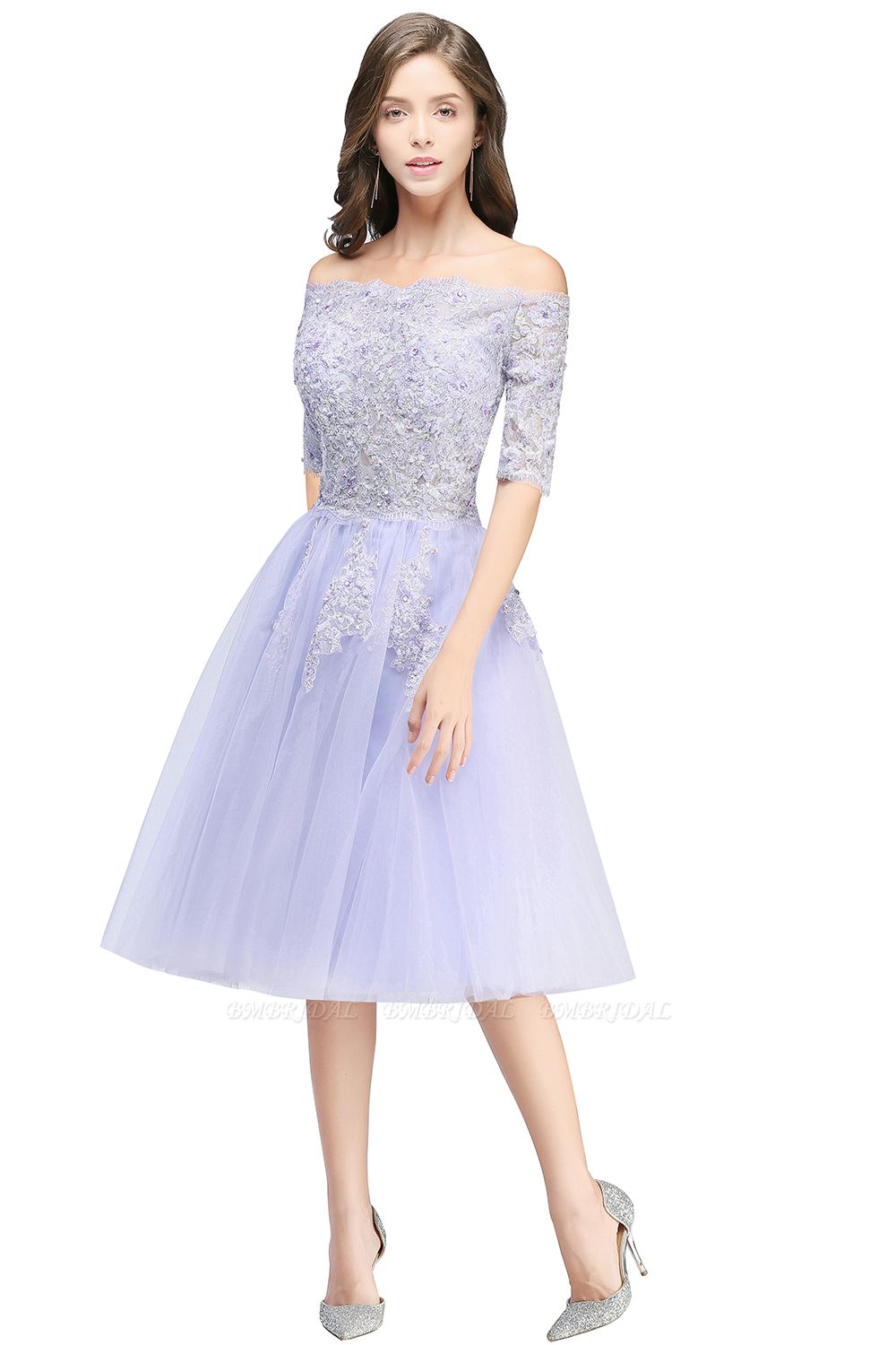 BMbridal A-line Short Sleeves Tulle Lace Flower Girl Dress