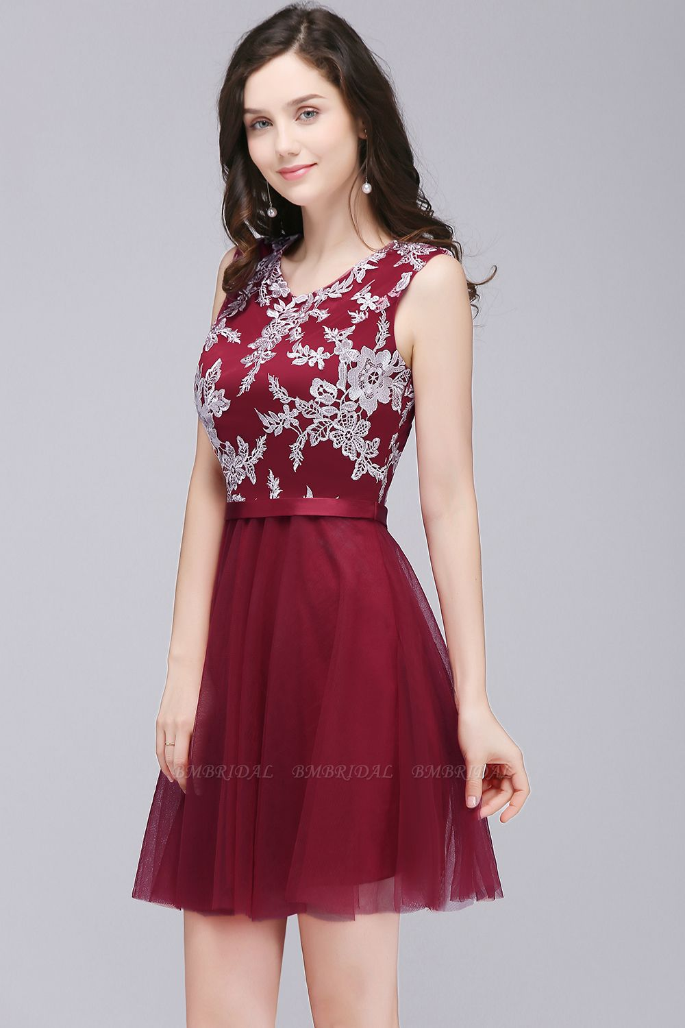 BMbridal Pink Short Homecoming Dress with Lace Appliques