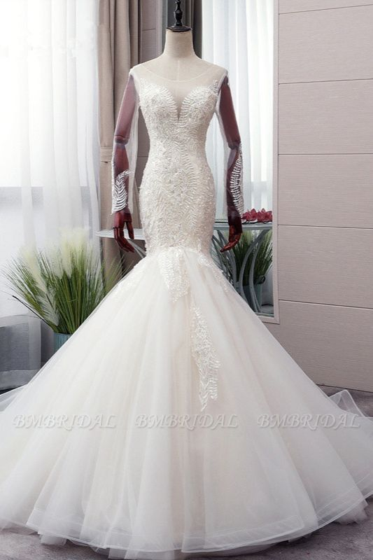 BMbridal Chic Jewel Tulle Mermaid Lace Wedding Dress Pearls Appliques Long Sleeves Bridal Gowns Online
