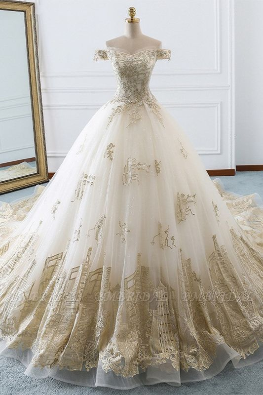 Chic Off-the-Shoulder White Tulle Wedding Dress Sweetheart Sleeveless Champagne Appliques Bridal Gowns Online
