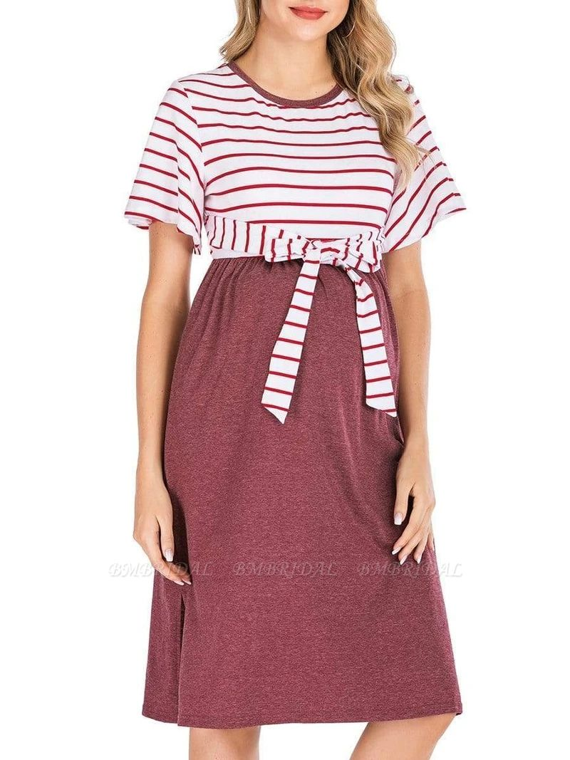 Fashion Women's Striped Round-Neck Maternity Dress with Short-sleeves