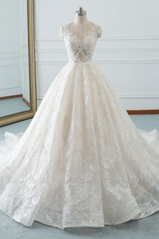 BMbridal Elegant Jewel White Tulle Lace Wedding Dress Sleeveless Appliques A-Line Bridal Gowns Online