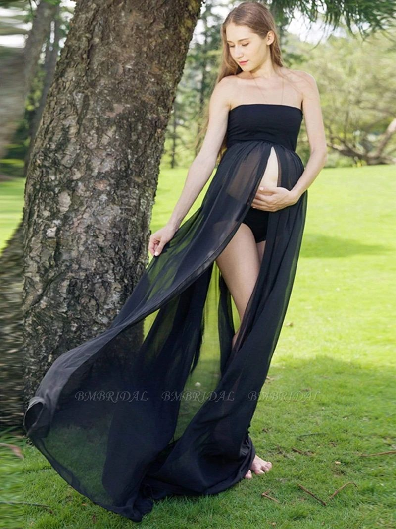 Sexy Chiffon Strapless Pregnant Long Dress for Women On Sale