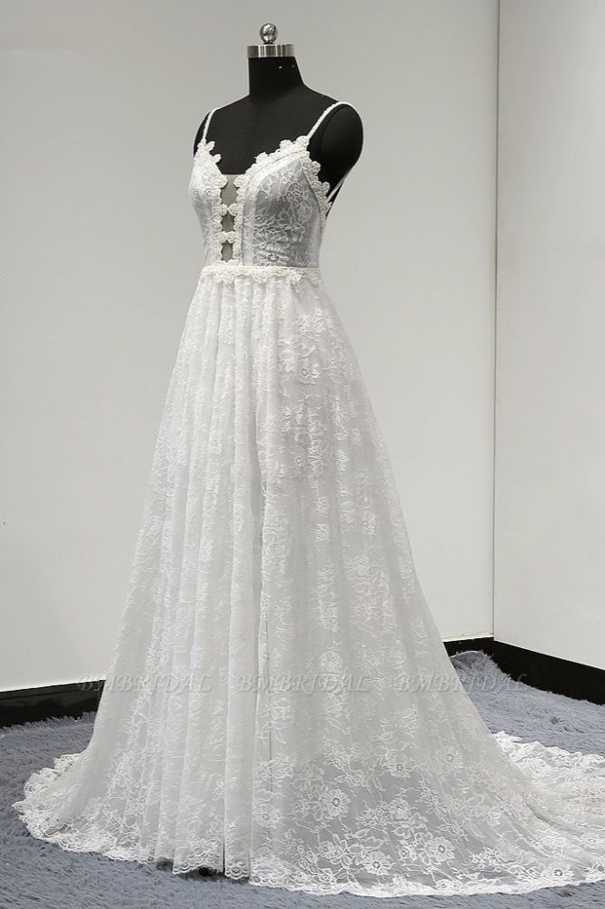 BMbridal Sexy V-neck Tulle Lace Wedding Dress Spaghetti Straps V-Neck Appliques Bridal Gowns Online
