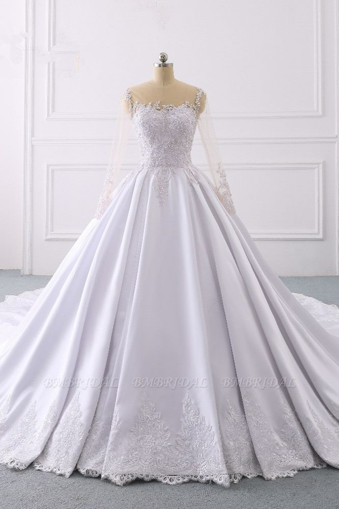 Glamorous Ball Gown Jewel Satin Tulle Wedding Dress Long Sleeves Ruffles Lace Bridal Gowns Online