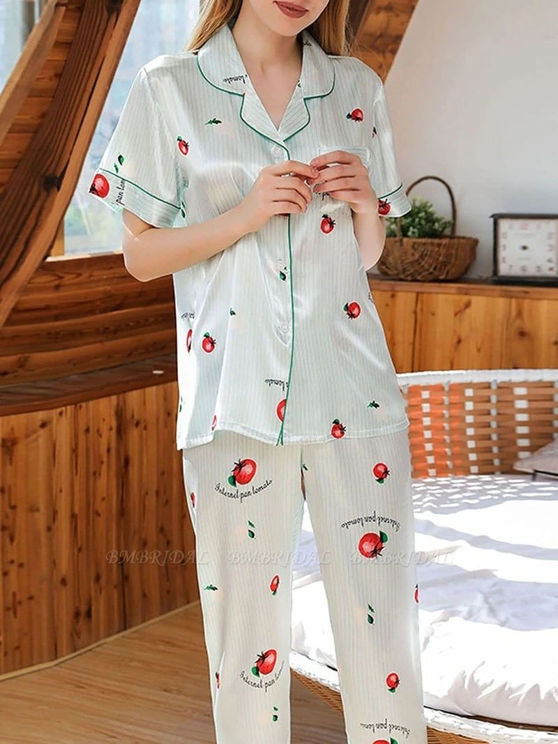 BMbridal Chic Two-pieces Imitation Silk Printed Pajamas Sets On Sale