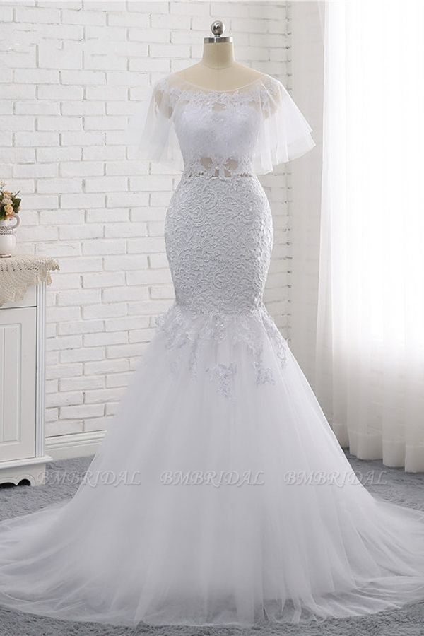 Elegant Jewel Sleeveless White Tulle Wedding Dress Mermaid Lace Beading Bridal Gowns On Sale