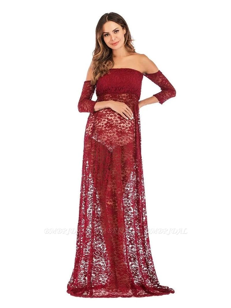 BMbridal Burgundy See-through Lace Strapless Maternity Dress with Half-sleeves