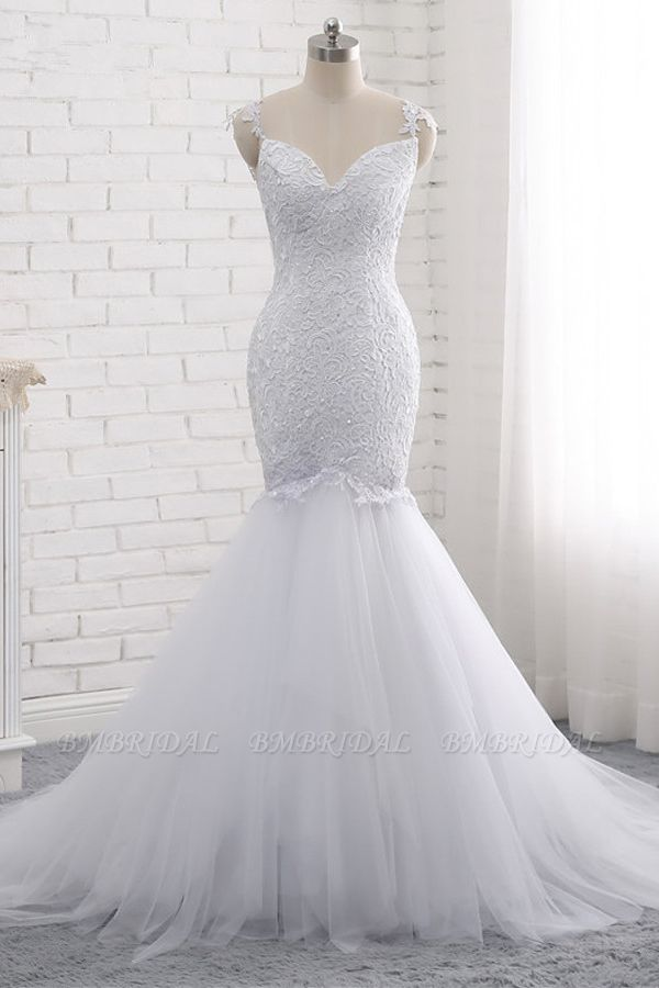 BMbridal Mordern Straps V-Neck Tulle Lace Wedding Dress Sleeveless Appliques Beadings Bridal Gowns Online