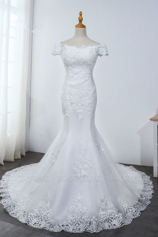 Affordable Off-the-Shoulder Mermaid White Wedding Dress Short Sleeves Tulle Appliques Bridal Gowns On Sale