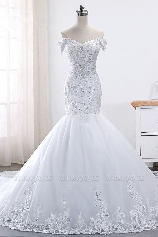 BMbridal Glamorous Off-the-Shoulder Short Sleeves Wedding Dress Sweetheart Mermaid Tulle Appliques Beadings Bridal Gowns On Sale