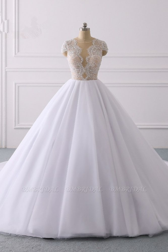 BMbridal Modern Ball Gown Jewel Tulle Ruffles Lace Wedding Dress Appliques Short-Sleeves Bridal Gowns On Sale