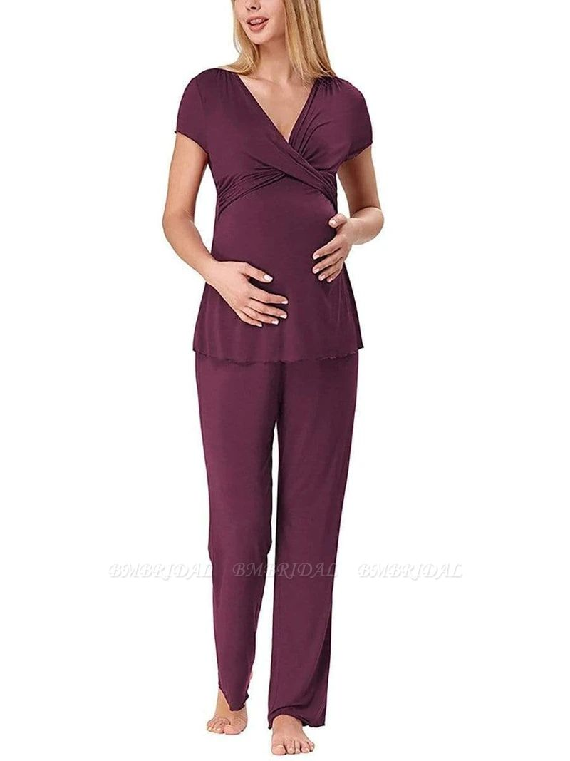 BMbridal Soft Short Sleeve Solid Color Maternity Breastfeeding Suit