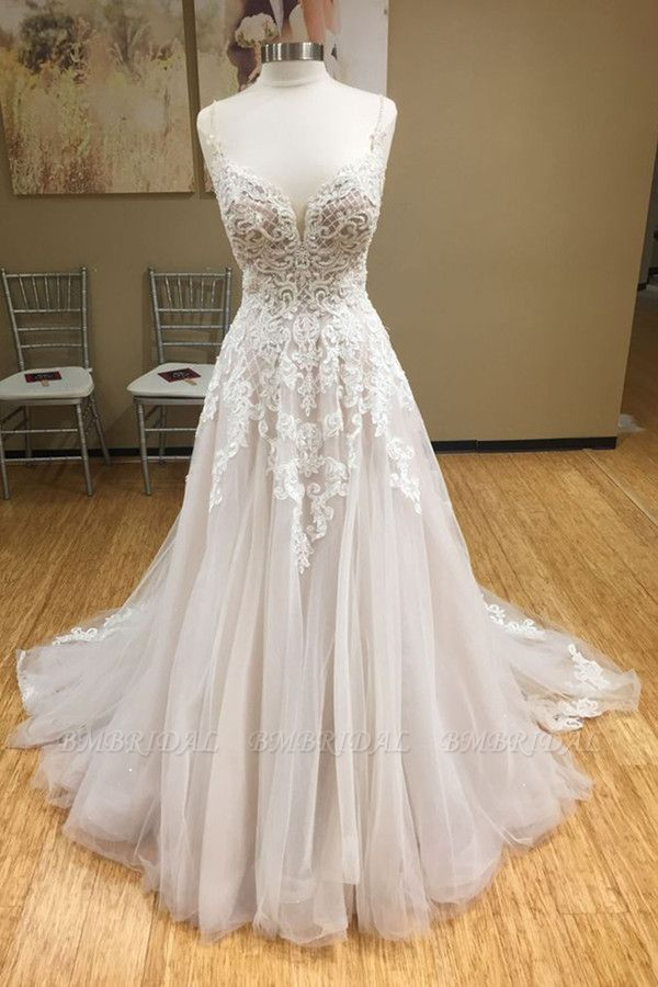 Chic Spaghetti-Straps V-Neck Tulle Wedding Dress Appliques Sleeveless Bridal Gowns with Beadings Online